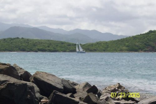 Sailing on channel between Puerto Rico and Pineiro Island (A