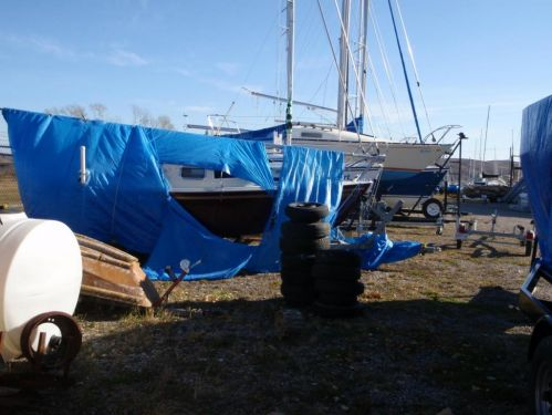 These sail boat guys love their blue tarps